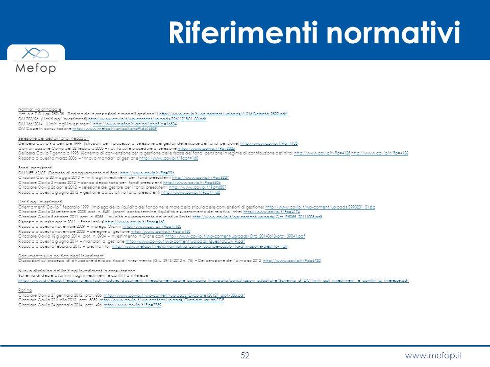 www.mefop.it Riferimenti normativi Normativa principale Artt. 6 e 7 D. Lgs. 252/05 (Regime delle prestazioni e modelli gestionali) http://www.covip.it