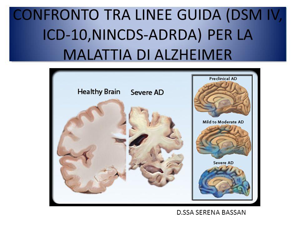 CONFRONTO TRA LINEE GUIDA (DSM IV, ICD-10,NINCDS-ADRDA) PER LA MALATTIA DI ALZHEIMER D.SSA SERENA BASSAN