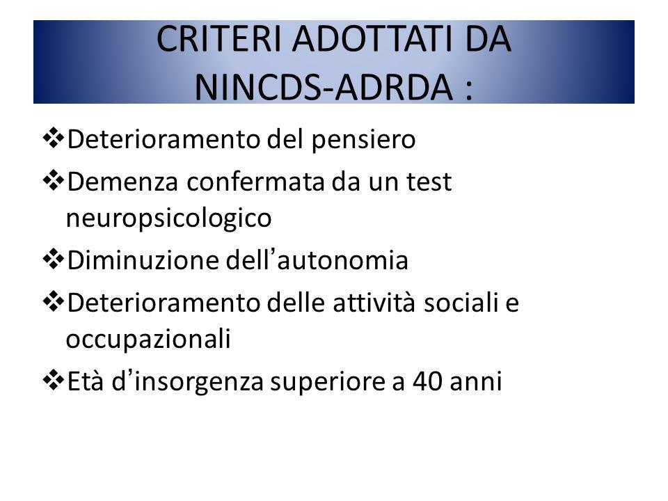 CRITERI ADOTTATI DA NINCDS-ADRDA :  Deterioramento del pensiero  Demenza confermata da un test neuropsicologico  Diminuzione dell'autonomia  Deter
