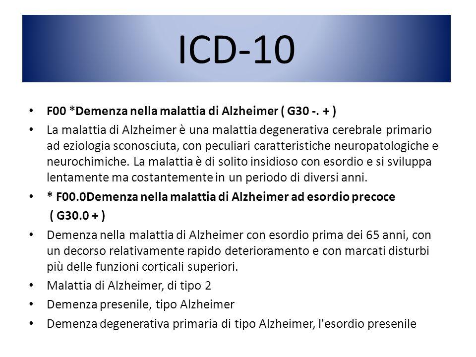 ICD-10 F00 *Demenza nella malattia di Alzheimer ( G30 -. + ) La malattia di Alzheimer è una malattia degenerativa cerebrale primario ad eziologia scon
