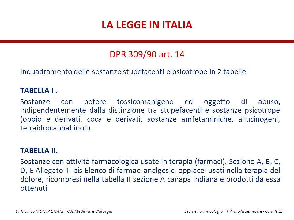 LA LEGGE IN ITALIA Inquadramento delle sostanze stupefacenti e psicotrope in 2 tabelle TABELLA I. Sostanze con potere tossicomanigeno ed oggetto di ab