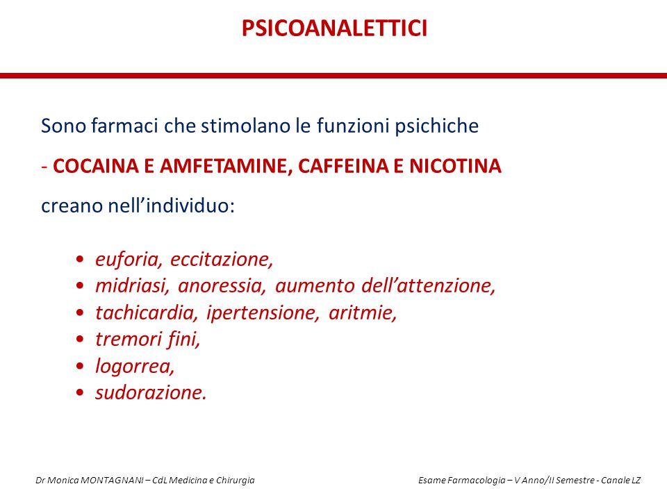 Sono farmaci che stimolano le funzioni psichiche - COCAINA E AMFETAMINE, CAFFEINA E NICOTINA creano nell'individuo: euforia, eccitazione, midriasi, an