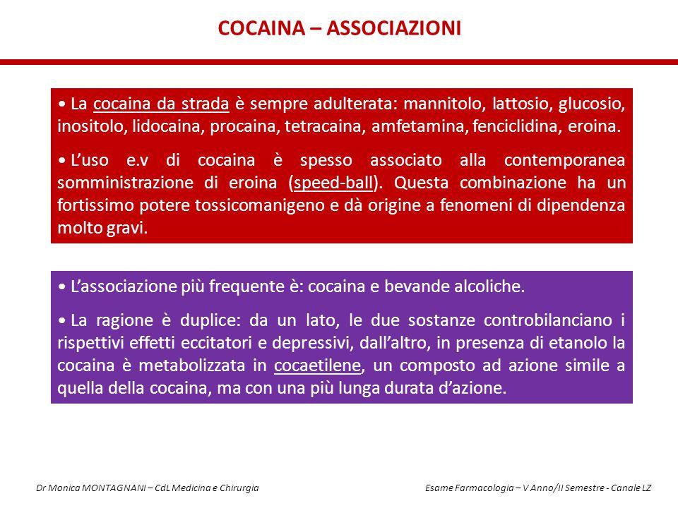 COCAINA – ASSOCIAZIONI La cocaina da strada è sempre adulterata: mannitolo, lattosio, glucosio, inositolo, lidocaina, procaina, tetracaina, amfetamina