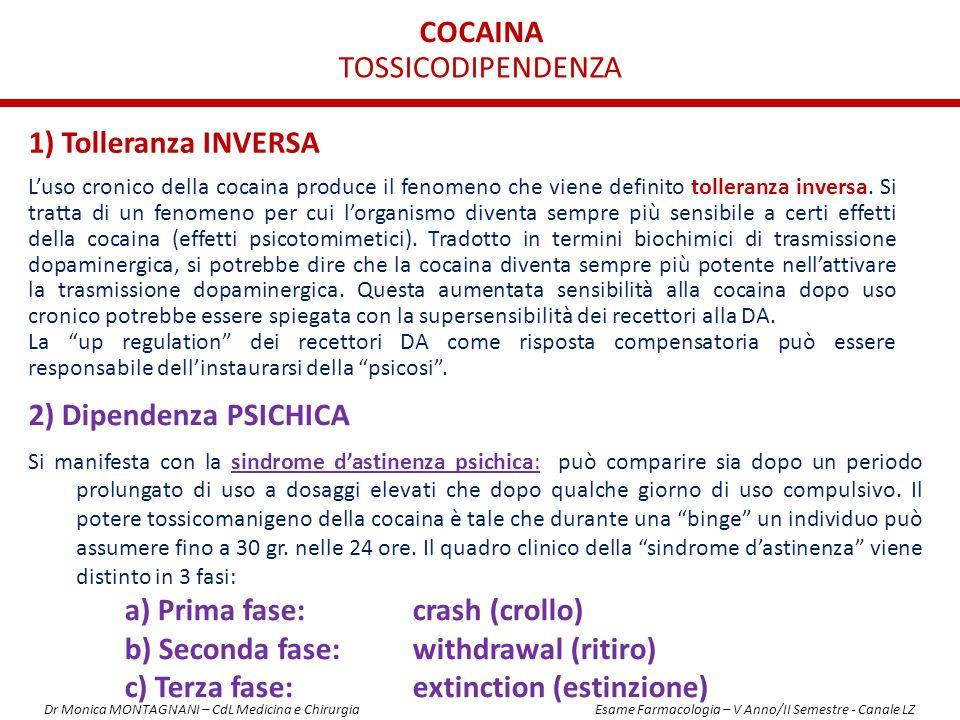 COCAINA 1) Tolleranza INVERSA L'uso cronico della cocaina produce il fenomeno che viene definito tolleranza inversa. Si tratta di un fenomeno per cui