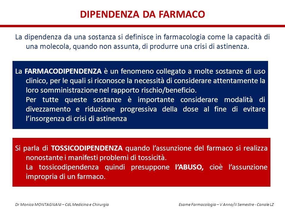 SOSTANZE DEPRIMENTISOSTANZE STIMOLANTI SOSTANZE DISPERCETTIVE Oppiacei (oppio, eroina, morfina, ecc.) AmfetamineLSD BarbituriciCocainaKetamina BenzodiazepineCaffeinaFunghi allucinogeni NicotinaAllucinogeni in generale SOSTANZE DEPRIMENTI / STIMOLANTI SOSTANZE DISPERCETTIVE / DEPRIMENTI SOSTANZE DISPERCETTIVE / STIMOLANTI Alcol (l alcol provoca euforia nei primi momenti, per poi lasciare posto alla depressione e al sonno) Cannabinoidi (ad alte dosi danno luogo ad allucinazioni, a basse dosi creano dispercezioni spazio- temporali) Ecstasy (l ecstasy conserva un potere mescalinico unito ad un potere amfetaminico, dovuto alla propria formulazione chimica) CLASSIFICAZIONE IN BASE ALLA MODALITA' DI AZIONE sul SNC Dr Monica MONTAGNANI – CdL Medicina e Chirurgia Esame Farmacologia – V Anno/II Semestre - Canale LZ