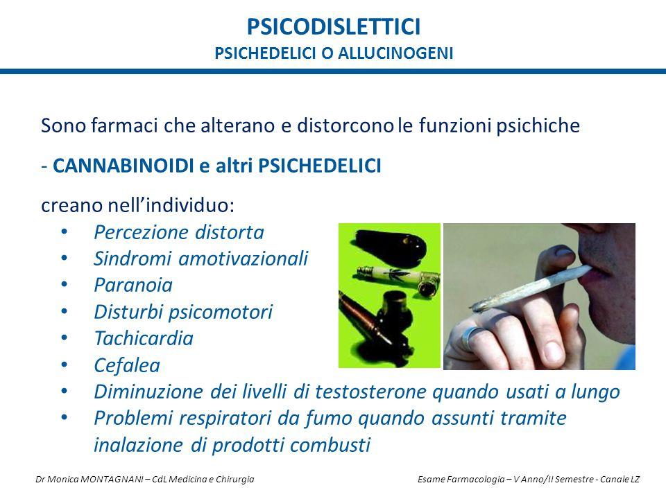 Sono farmaci che alterano e distorcono le funzioni psichiche - CANNABINOIDI e altri PSICHEDELICI creano nell'individuo: Percezione distorta Sindromi a