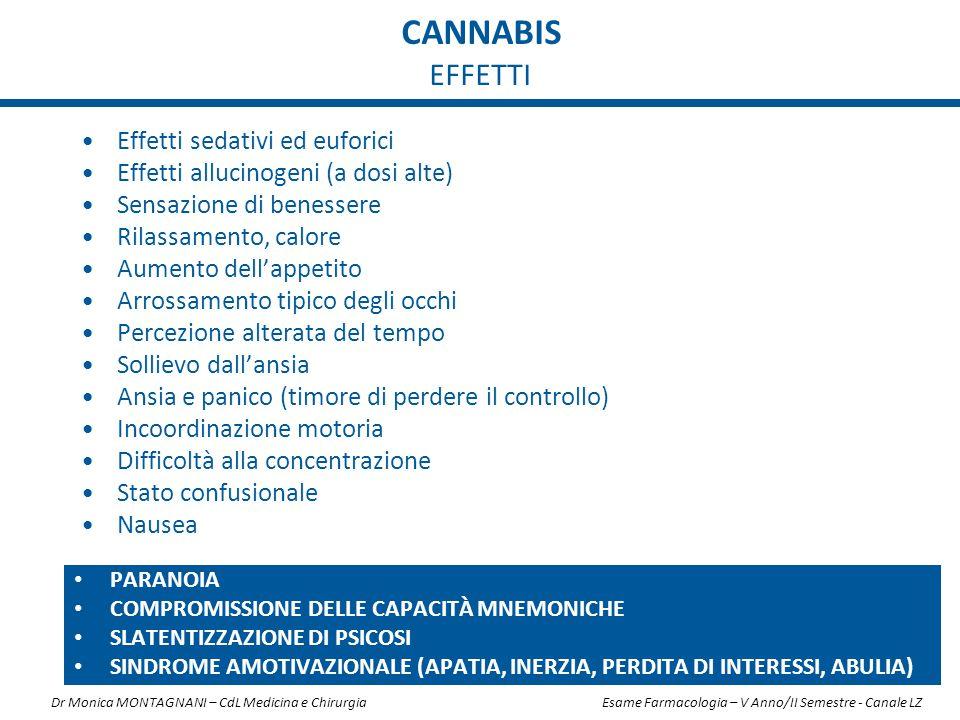 CANNABIS EFFETTI Effetti sedativi ed euforici Effetti allucinogeni (a dosi alte) Sensazione di benessere Rilassamento, calore Aumento dell'appetito Ar