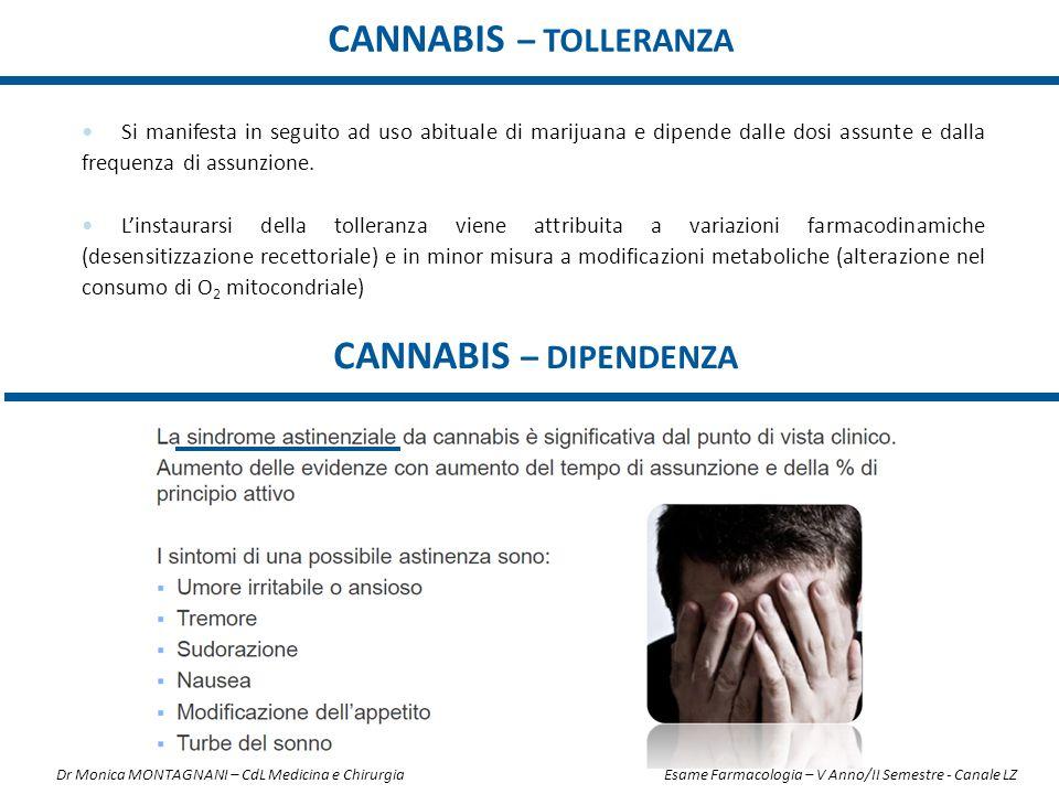 Si manifesta in seguito ad uso abituale di marijuana e dipende dalle dosi assunte e dalla frequenza di assunzione. L'instaurarsi della tolleranza vien