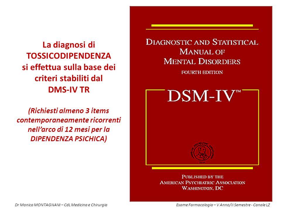 CRITERI DIAGNOSTICI PER LA DIPENDENZA DA SOSTANZE PSICOATTIVE SECONDO IL DSM-IV-TR* 1) tolleranza, come definita da ciascuno dei seguenti: a) il bisogno di dosi notevolmente più elevate per raggiungere l'effetto desiderato.