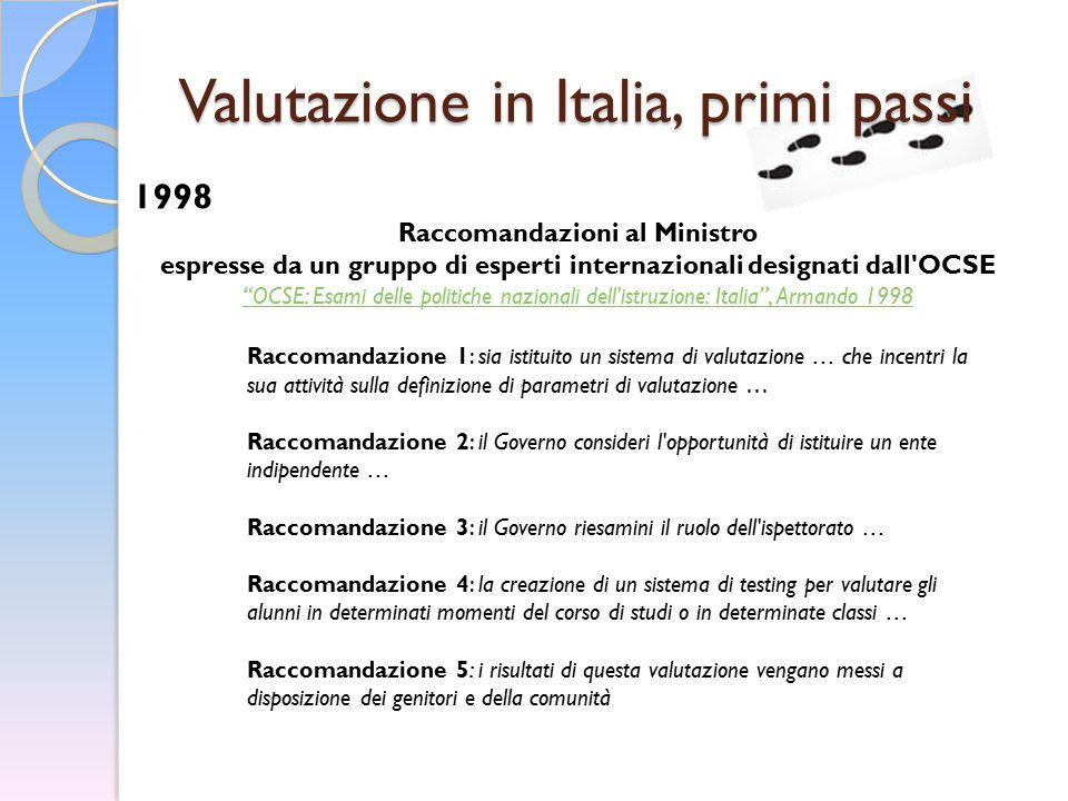 """Valutazione in Italia, primi passi 1998 Raccomandazioni al Ministro espresse da un gruppo di esperti internazionali designati dall'OCSE """"OCSE: Esami d"""