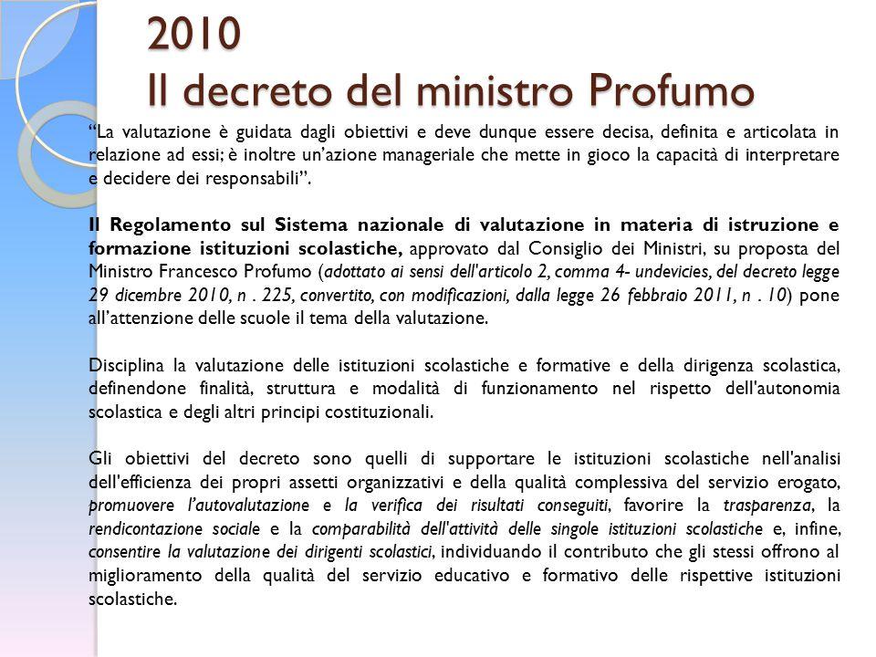 """2010 Il decreto del ministro Profumo """"La valutazione è guidata dagli obiettivi e deve dunque essere decisa, definita e articolata in relazione ad essi"""