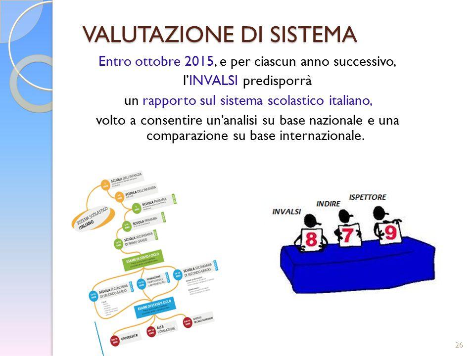 26 VALUTAZIONE DI SISTEMA Entro ottobre 2015, e per ciascun anno successivo, l'INVALSI predisporrà un rapporto sul sistema scolastico italiano, volto