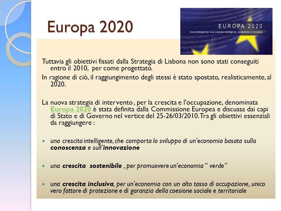 Europa 2020 Tuttavia gli obiettivi fissati dalla Strategia di Lisbona non sono stati conseguiti entro il 2010, per come progettato. In ragione di ciò,