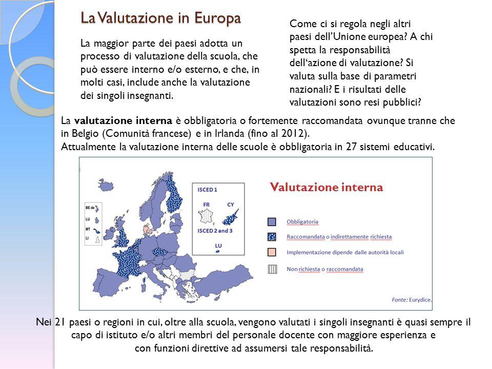La Valutazione in Europa Come ci si regola negli altri paesi dell'Unione europea? A chi spetta la responsabilità dell'azione di valutazione? Si valuta