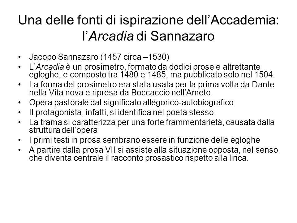 Una delle fonti di ispirazione dell'Accademia: l'Arcadia di Sannazaro Jacopo Sannazaro (1457 circa –1530) L'Arcadia è un prosimetro, formato da dodici