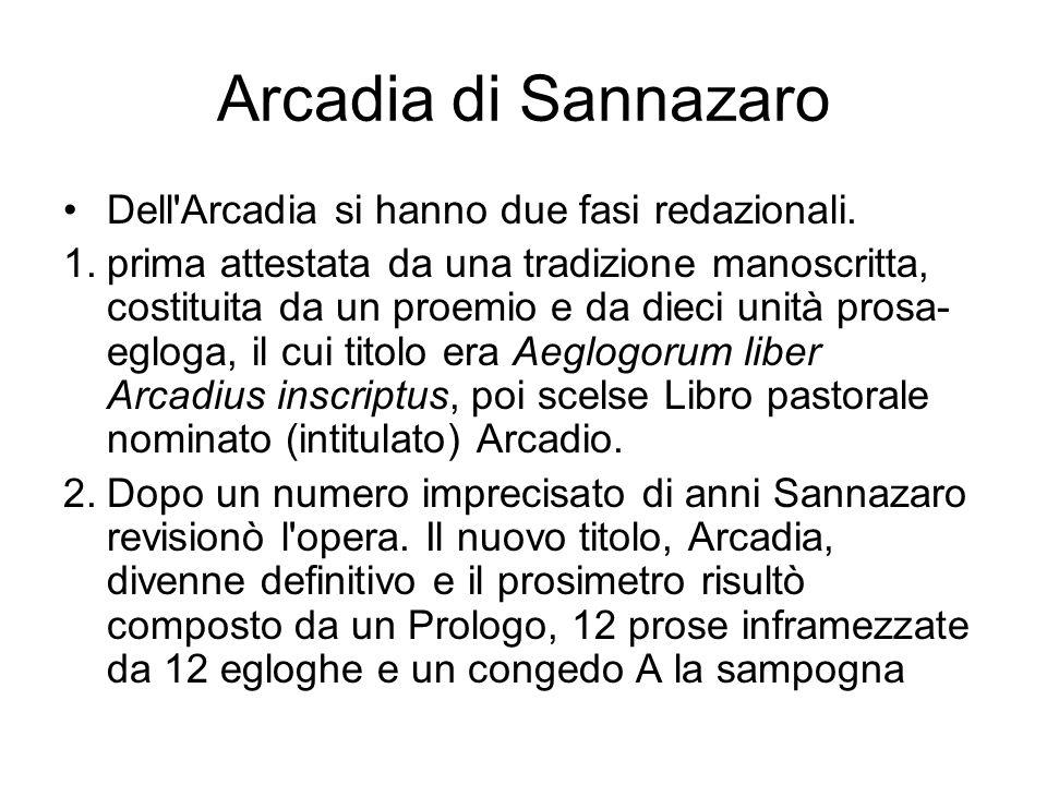 Arcadia di Sannazaro Dell'Arcadia si hanno due fasi redazionali. 1.prima attestata da una tradizione manoscritta, costituita da un proemio e da dieci