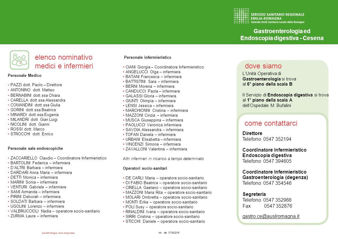 dove siamo come contattarci elenco nominativo medici e infermieri Ausl della Romagna - Centro Stampa Cesena Gastroenterologia ed Endoscopia digestiva