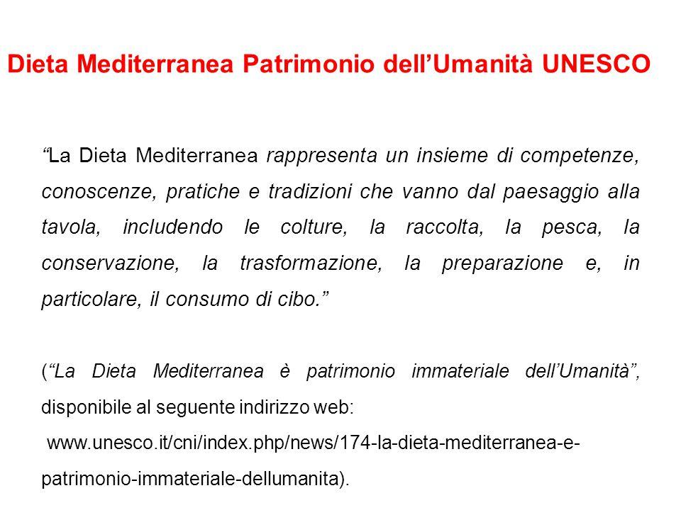 Dieta Mediterranea Patrimonio dell'Umanità UNESCO La Dieta Mediterranea rappresenta un insieme di competenze, conoscenze, pratiche e tradizioni che vanno dal paesaggio alla tavola, includendo le colture, la raccolta, la pesca, la conservazione, la trasformazione, la preparazione e, in particolare, il consumo di cibo. ( La Dieta Mediterranea è patrimonio immateriale dell'Umanità , disponibile al seguente indirizzo web: www.unesco.it/cni/index.php/news/174-la-dieta-mediterranea-e- patrimonio-immateriale-dellumanita).