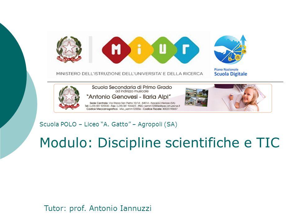 """Scuola POLO – Liceo """"A. Gatto"""" – Agropoli (SA) Modulo: Discipline scientifiche e TIC Tutor: prof. Antonio Iannuzzi"""