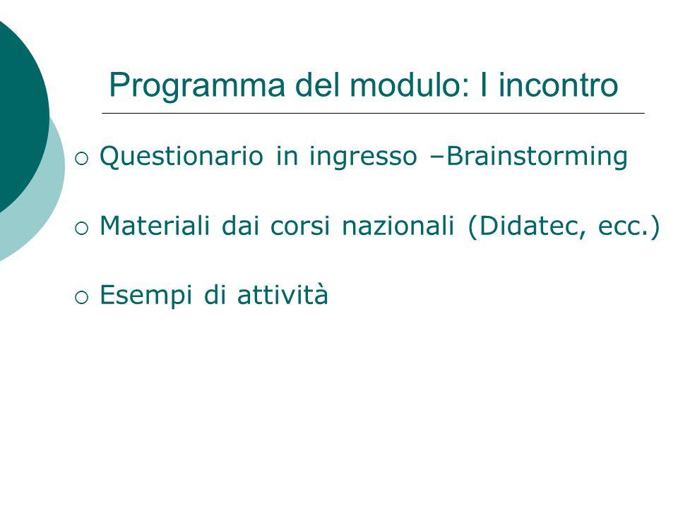 Programma del modulo: I incontro  Questionario in ingresso –Brainstorming  Materiali dai corsi nazionali (Didatec, ecc.)  Esempi di attività