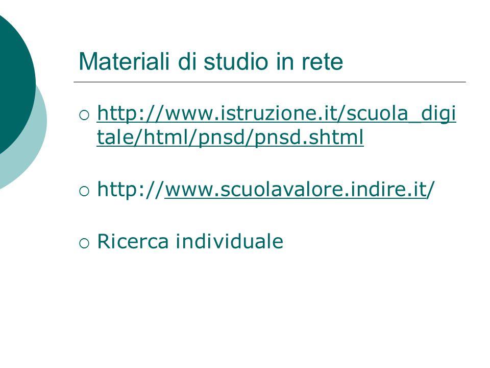 Materiali di studio in rete  http://www.istruzione.it/scuola_digi tale/html/pnsd/pnsd.shtml http://www.istruzione.it/scuola_digi tale/html/pnsd/pnsd.
