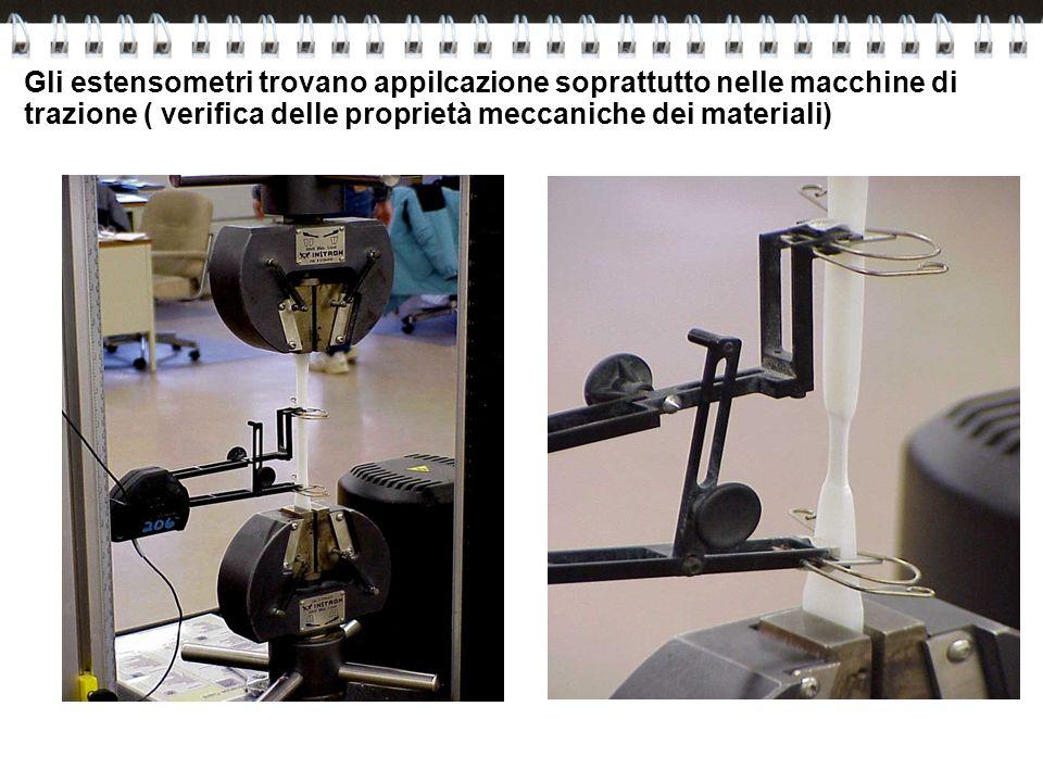 Gli estensometri trovano appilcazione soprattutto nelle macchine di trazione ( verifica delle proprietà meccaniche dei materiali)