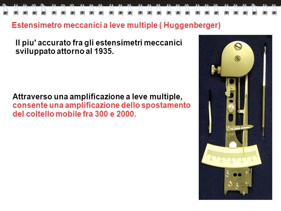Estensimetro meccanici a leve multiple ( Huggenberger) Il piu' accurato fra gli estensimetri meccanici sviluppato attorno al 1935. Attraverso una ampl