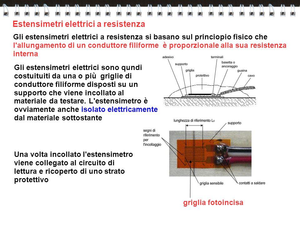 Estensimetri elettrici a resistenza Gli estensimetri elettrici a resistenza si basano sul princiopio fisico che l'allungamento di un conduttore filifo