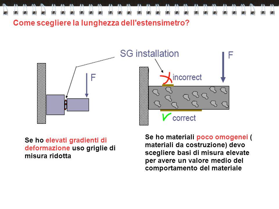 Come scegliere la lunghezza dell'estensimetro? Se ho materiali poco omogenei ( materiali da costruzione) devo scegliere basi di misura elevate per ave