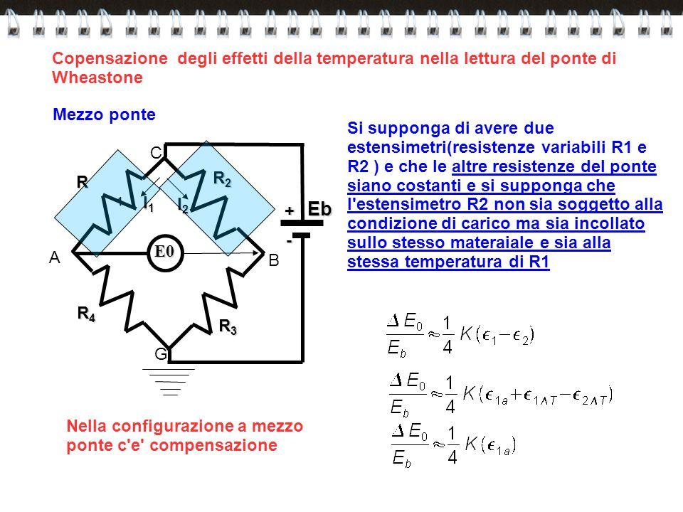 R1R1R1R1 R2R2R2R2 R4R4R4R4 R3R3R3R3Eb E0 C B G A+ - I1I1I1I1 I2I2I2I2 Mezzo ponte Si supponga di avere due estensimetri(resistenze variabili R1 e R2 )