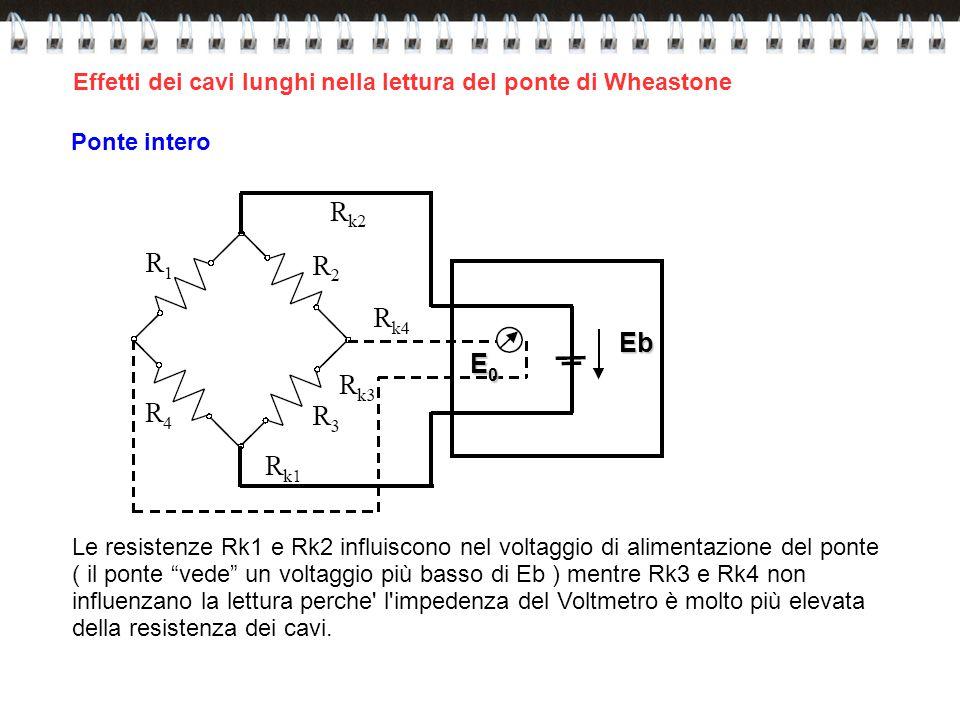 Effetti dei cavi lunghi nella lettura del ponte di WheastoneEb E0E0E0E0 Le resistenze Rk1 e Rk2 influiscono nel voltaggio di alimentazione del ponte (