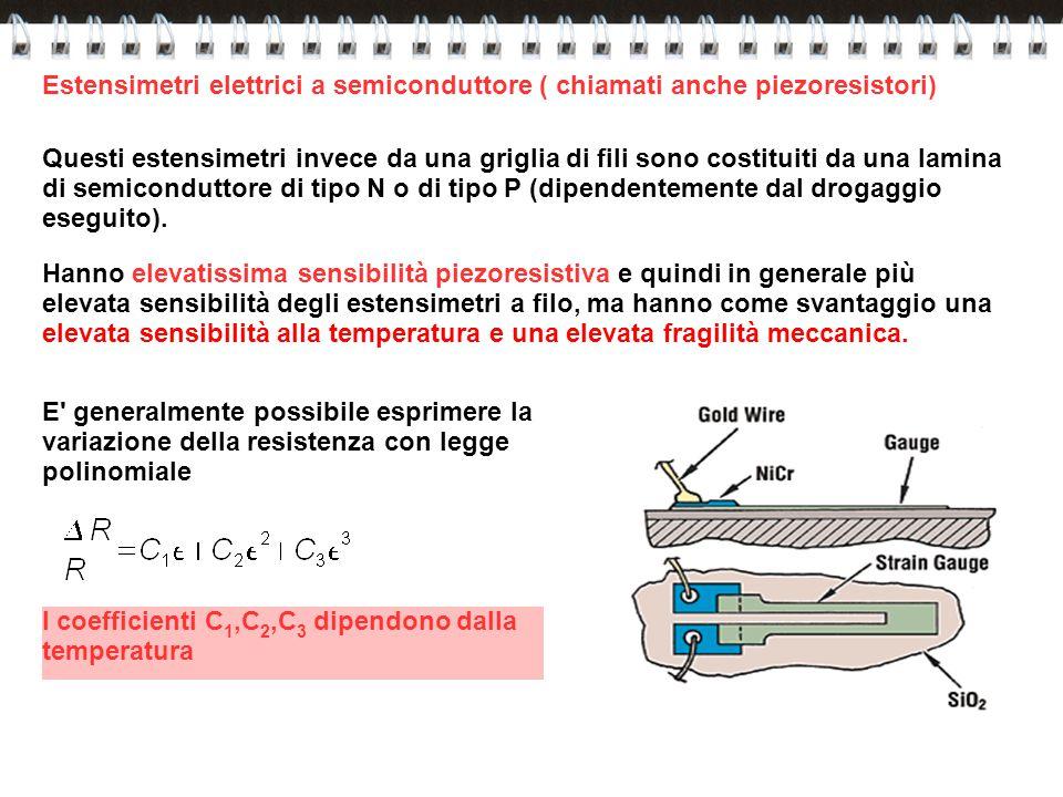 Questi estensimetri invece da una griglia di fili sono costituiti da una lamina di semiconduttore di tipo N o di tipo P (dipendentemente dal drogaggio