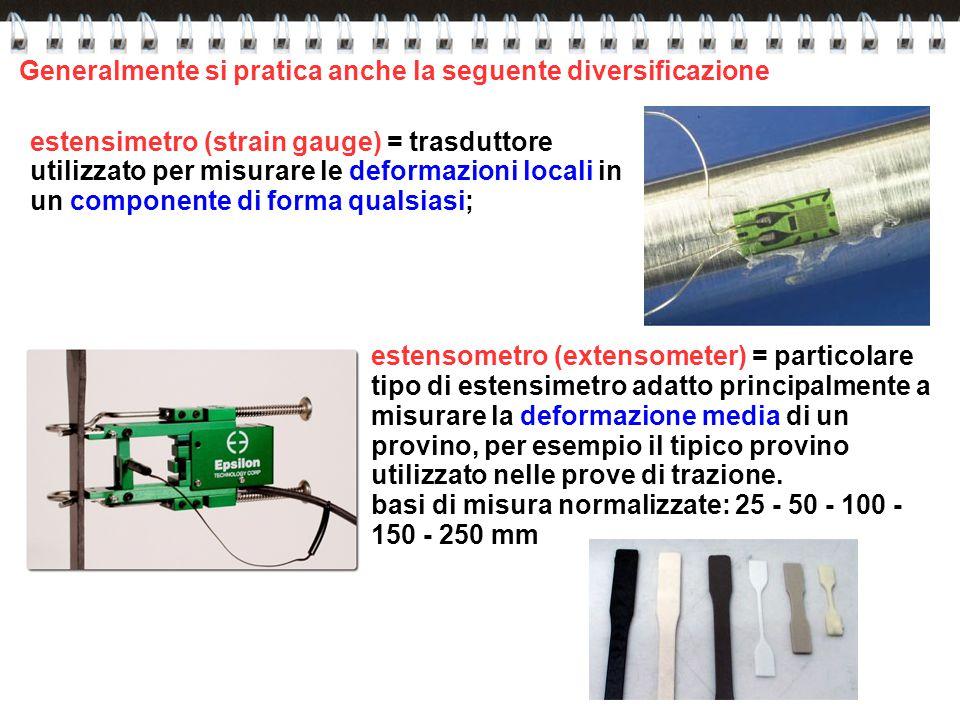 Generalmente si pratica anche la seguente diversificazione estensimetro (strain gauge) = trasduttore utilizzato per misurare le deformazioni locali in