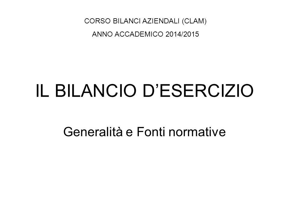 IL BILANCIO D'ESERCIZIO Generalità e Fonti normative CORSO BILANCI AZIENDALI (CLAM) ANNO ACCADEMICO 2014/2015