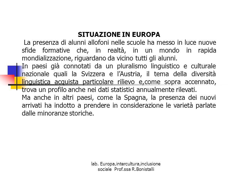lab. Europa,intercultura,inclusione sociale Prof.ssa R.Bonistalli SITUAZIONE IN EUROPA La presenza di alunni allofoni nelle scuole ha messo in luce nu