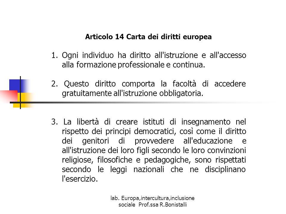 lab. Europa,intercultura,inclusione sociale Prof.ssa R.Bonistalli Articolo 14 Carta dei diritti europea 1.Ogni individuo ha diritto all'istruzione e a