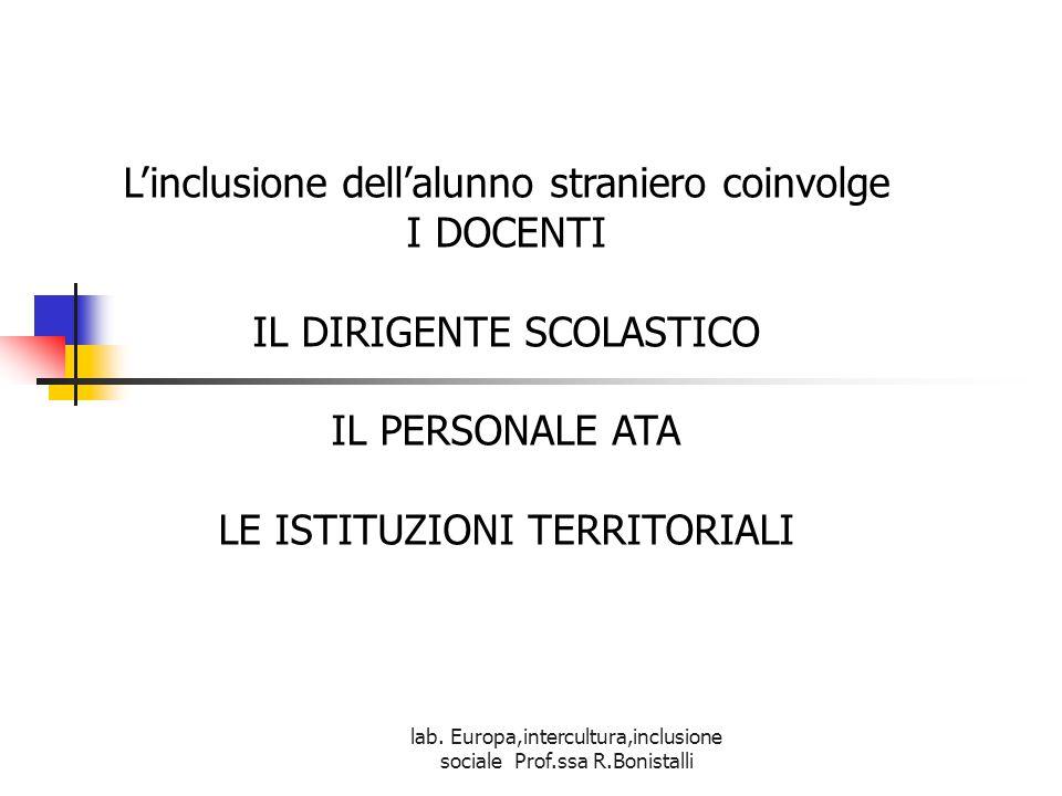 lab. Europa,intercultura,inclusione sociale Prof.ssa R.Bonistalli L'inclusione dell'alunno straniero coinvolge I DOCENTI IL DIRIGENTE SCOLASTICO IL PE