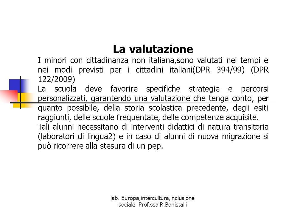 lab. Europa,intercultura,inclusione sociale Prof.ssa R.Bonistalli La valutazione I minori con cittadinanza non italiana,sono valutati nei tempi e nei