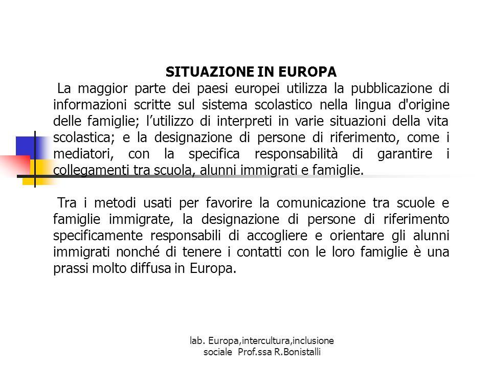 lab. Europa,intercultura,inclusione sociale Prof.ssa R.Bonistalli SITUAZIONE IN EUROPA La maggior parte dei paesi europei utilizza la pubblicazione di