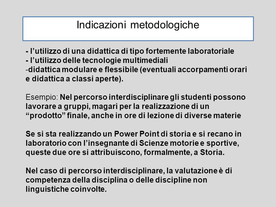 Indicazioni metodologiche - l'utilizzo di una didattica di tipo fortemente laboratoriale - l'utilizzo delle tecnologie multimediali -didattica modulare e flessibile (eventuali accorpamenti orari e didattica a classi aperte).