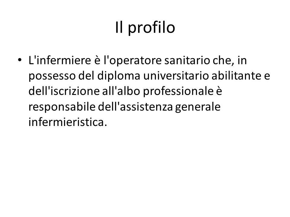 Il profilo L'infermiere è l'operatore sanitario che, in possesso del diploma universitario abilitante e dell'iscrizione all'albo professionale è respo