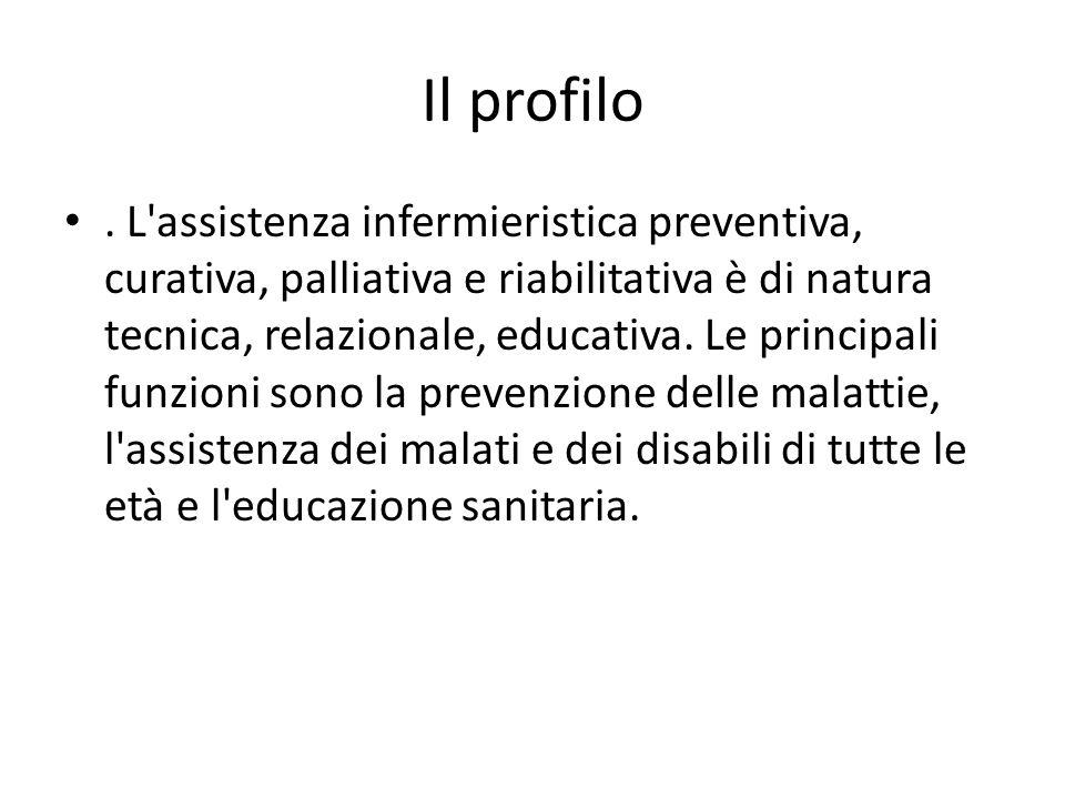 Il profilo. L'assistenza infermieristica preventiva, curativa, palliativa e riabilitativa è di natura tecnica, relazionale, educativa. Le principali f