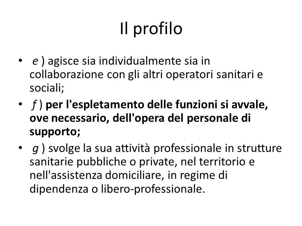 Il profilo e ) agisce sia individualmente sia in collaborazione con gli altri operatori sanitari e sociali; f ) per l'espletamento delle funzioni si a