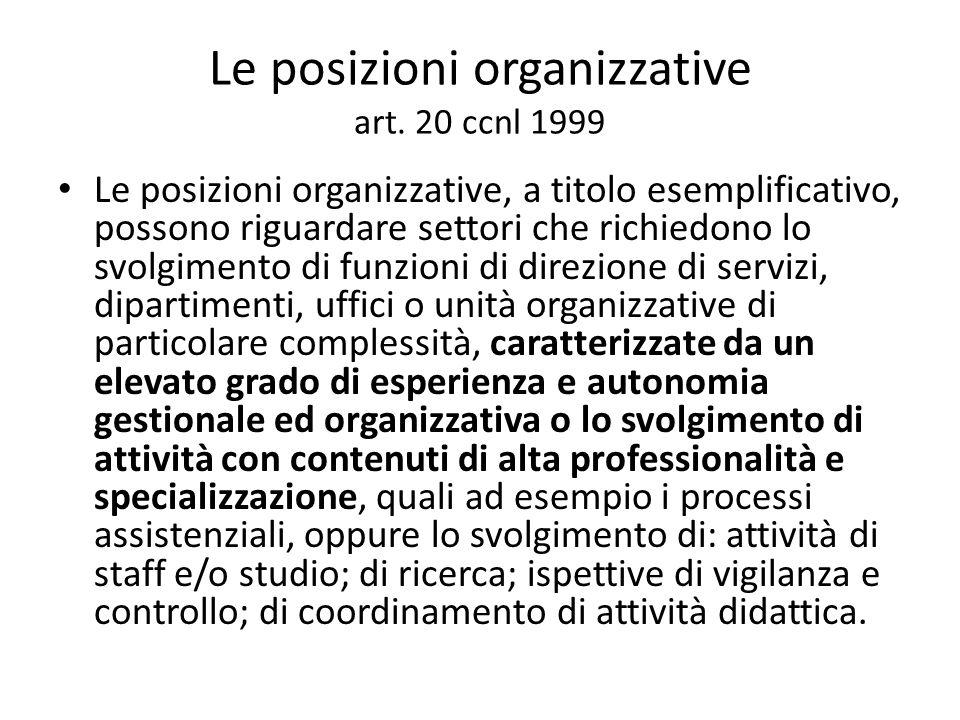 Le posizioni organizzative art. 20 ccnl 1999 Le posizioni organizzative, a titolo esemplificativo, possono riguardare settori che richiedono lo svolgi