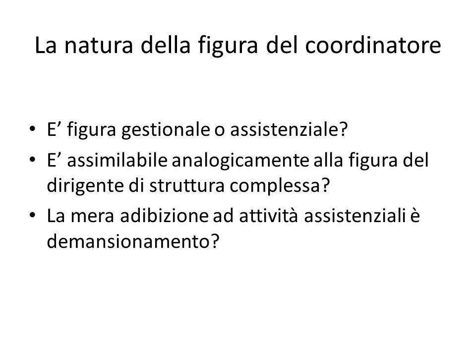 La natura della figura del coordinatore E' figura gestionale o assistenziale? E' assimilabile analogicamente alla figura del dirigente di struttura co