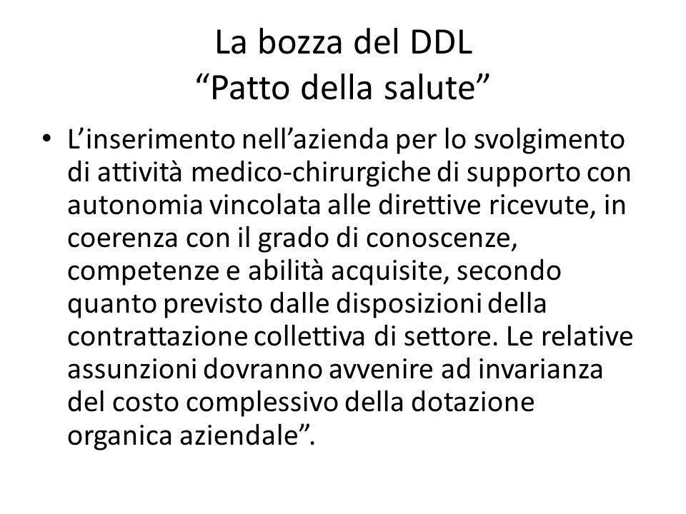 """La bozza del DDL """"Patto della salute"""" L'inserimento nell'azienda per lo svolgimento di attività medico-chirurgiche di supporto con autonomia vincolata"""