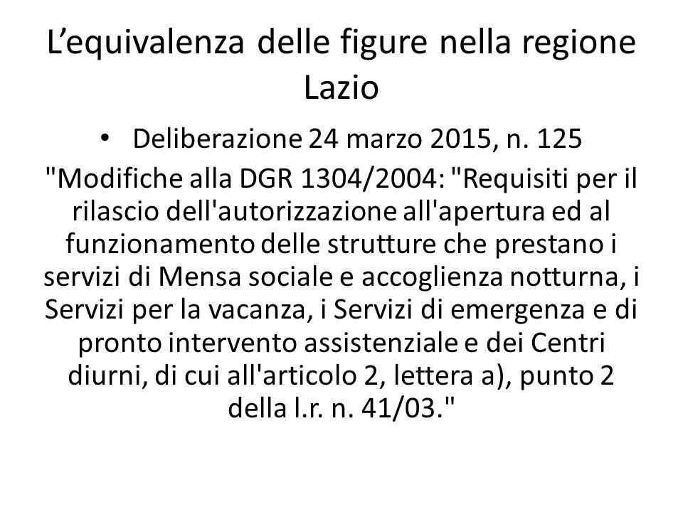 L'equivalenza delle figure nella regione Lazio Deliberazione 24 marzo 2015, n. 125