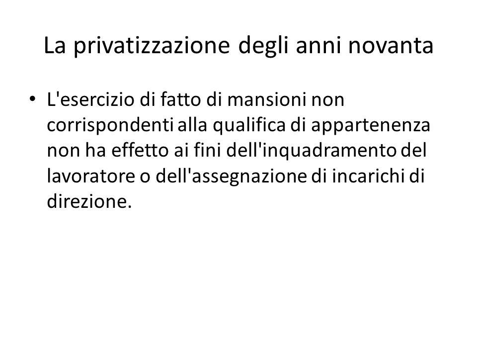 La privatizzazione degli anni novanta L'esercizio di fatto di mansioni non corrispondenti alla qualifica di appartenenza non ha effetto ai fini dell'i