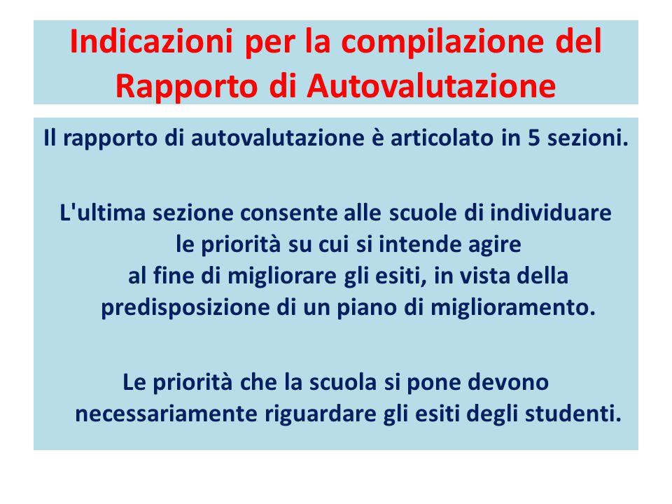 Indicazioni per la compilazione del Rapporto di Autovalutazione Il rapporto di autovalutazione è articolato in 5 sezioni.