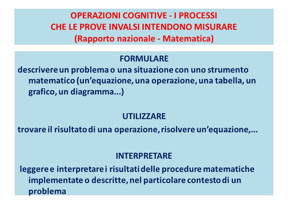 OPERAZIONI COGNITIVE - I PROCESSI CHE LE PROVE INVALSI INTENDONO MISURARE (Rapporto nazionale - Matematica) FORMULARE descrivere un problema o una situazione con uno strumento matematico (un'equazione, una operazione, una tabella, un grafico, un diagramma...) UTILIZZARE trovare il risultato di una operazione, risolvere un'equazione,...